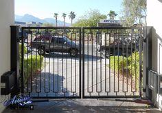 Wrought Iron Driveway Gate - Model: DG0381 Wrought Iron Driveway Gates, Front Gates, Entry Gates, Entrance, Front Gate Design, Double Gate, Gate Ideas, Modern Traditional, Garden Gates