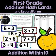 First Grade Addition Flash Cards- Adding Within Addition Speed Drills- Math Fact Fluency with Student and Teacher Record Charts First Grade Classroom, 1st Grade Math, First Grade Addition, Addition Flashcards, Mental Calculation, Math Fact Fluency, Addition Facts, Math Facts, Common Core Standards