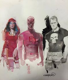 Elektra by Bill Sienkiewicz, Daredevil by Alex Maleev, and The Punisher by Cary Nord *