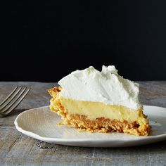 Bill Smith's Atlantic Beach Pie.  The crust is saltine crackers you mash with your hands; its tart custard belly is only three ingredients (sweetened condensed milk, egg yolk...