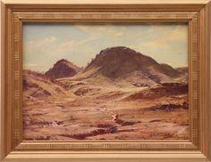 The Hill of the Creeping Shadow, Flinders Ranges - Hans Heysen Australian Painting, Australian Artists, Virtual Art, Art Academy, Art Database, Old Master, South Australia, Ranges, Scenery