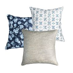 All The Things - Shimmer Linen Pillow Cover, Platinum Blue Pillows, Linen Pillows, Decorative Pillows, Throw Pillows, Blue Tiles, Pillow Covers, Bed, Floral, Prints