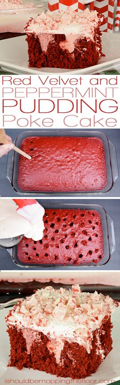 Red Velvet and Peppermint Pudding Poke Cake | A taste of Christmas in every bite of this moist, rich cake...and its topped with a delicious cream cheese frosting.