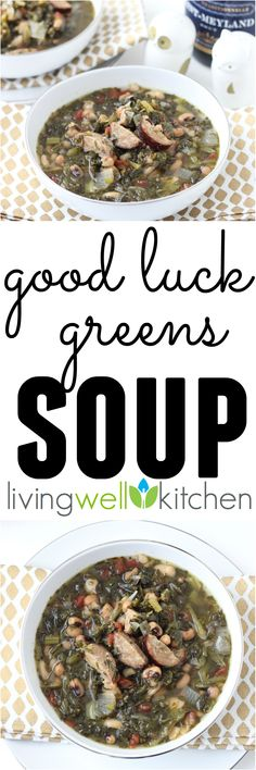 This easy slow cooker Good Luck Greens Soup recipe from /memeinge/ has greens, black eyed peas & pork for a lucky and prosperous year. Plus, it takes very little effort to prepare. Easy Soup Recipes, Dairy Free Recipes, Real Food Recipes, Healthy Recipes, Chili Recipes, Healthy Soups, Drink Recipes, Healthy Eats, Dinner Recipes
