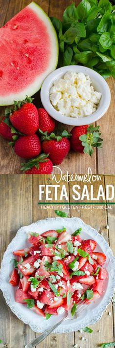 Watermelon feta basil salad: Simple, refreshing salad to enjoy fresh fruits. Perfect as a side dish or a low calorie meal. Also healthy, full of nutrients, gluten free | watchwhatueat.com