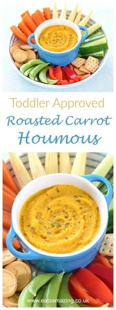 Easy roasted carrot houmous recipe - a perfect dip or spread for kids and toddlers too - healthy kids food from Eats Amazing UK