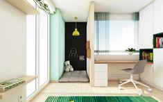 Návrh detskej izby vo svetlých farbách a výraznej smaragdovej, s unikátnym hracím kútikom vo výklenku 🧒👧👍 Viac na www.kivvi.sk 😉 . #navrhdetskejizby #detskeizby #navrhinterieru #nabytoknamieru #interierovydizajn Divider, Loft, Cabinet, Interior Design, Storage, Bed, Furniture, Home Decor, Clothes Stand