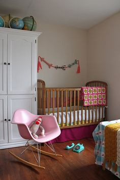 Bohemian, Pink Themed Nursery with Eames Rocker | SmartFurniture.com