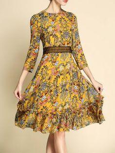 Yellow Crew Neck Flounce 3/4 Sleeve Floral-print Midi Dress