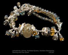 Labradorite, Citrine, Rutilated Quartz, Rainbow Moonstone, Sterling and Fine Silver Bracelet One of a kind and handmade by A. Denise Rollings-Martin  www.etsy.com/listing/211595781/labradorite-citrine-rutilated-quartz