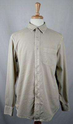 a691c0026ba INDIGO PALMS by TOMMY BAHAMA mens LS button KHAKI red STITCH shirt HEAVY  large  IndigoPalms