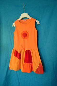 Recy+tričkošaty+Oranžáda+pro+mažoretku+vel.4-6+let+Patchwork+sešívané+šaty,+šířka+v+podpaží+volně+2*30,+délka+celkem+58cm.+Bavlna,+různé+recy+kousky+:D