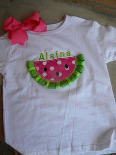 Ribbon Watermelon Girls Applique Shirt.