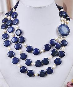 New3Rows-White-Akoya-Cultured-Pearl-Genuine-Coin-Lapis-Lazuli-Jewelry-Necklace