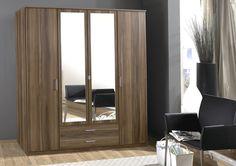 Milan 4 Door and 2 Drawer Combi Wardrobe with 2 Mirrors Walnut