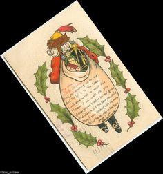 C585 OLD WORLD SANTA'S BACKSIDE - BAG HAS STOCKING POEM CHRISTMAS 1909 POSTCARD #Christmas