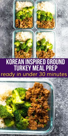 These ground turkey meal prep bowls have a delicious Korean-inspired sauce! Packed with flavor and under 400 calories per bowl, you can prep this recipe on the weekend for healthy and delicious lunches through the week. #sweetpeasandsaffron #mealprep #freezer