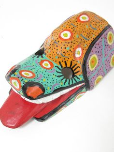Mexican mask colorful dog hand carved in Chiapas, Mexico