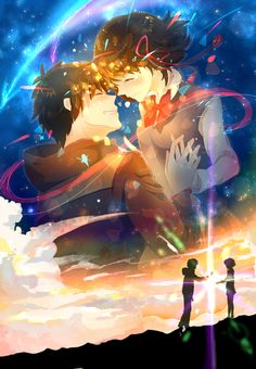 Kimi no na wa. Your name is. what's your name. Manga Anime, Film Manga, Film Anime, Manga Art, Kimi No Na Wa, Me Me Me Anime, Anime Love, Mitsuha And Taki, Couple Manga