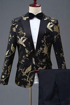 2c4c7094 Floral Animal Print Slim Fit Wedding Dinner Suit One Button Blazer Men's  Dress Suit