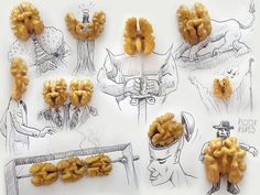 The unique food art of Victor Nunes who takes everyday food items and gives them a whole new meaning with his fun sketches. http://www.finedininglovers.com/blog/out-of-the-blue/food-art-victor-nunes/ #foodart #art #victornunes #fooddesign