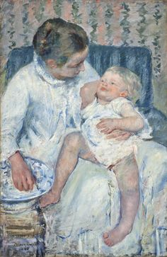 Mary Cassatt, Mother About to Wash Her Sleepy Child, 1880, Mrs. Fred Hathaway Bixby Bequest, M.62.8.14, LACMA.