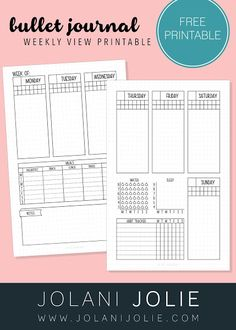 Free Printable: Weekly Bullet Journal Overview with Sleep, Water & Habit Tracker