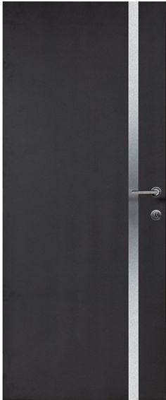 Porte intérieure contemporaine à peindre 3 inserts horizontaux alu