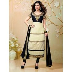Cream Georgette Suit With Resham And Zari Embroidery Work. Product Code : SKDAA1183 www.saree.com