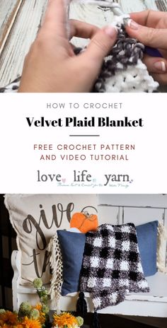 This blanket is perfect for the transition to fall and looks amazing as home decor! It's also very cuddly thanks to the velvet yarn. You have GOT to make this soft, squishy blanket! Written in three sizes from lapghan to twin! Plaid Crochet, Crochet Fall, Crochet Quilt, Crochet For Boys, Free Crochet, Crochet Crafts, Crochet Projects, Boy Crochet Patterns, Bernat Yarn
