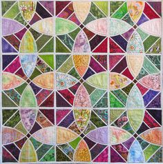 """Tile Quilt, 45 x 45"""", quilted by Holly Casey (California)"""