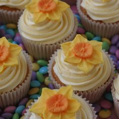 Daffodil cupcakes for St Davids Day - March 1st. Of Dragons and Daffodils http://www.augustuscollection.com/dragons-daffodils/