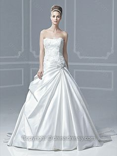 Ball Gown Strapless Satin Sweep Train Ivory Appliques Wedding Dresses -$226.89