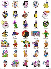 Free Machine Embroidery Designs Download: Snow White - 120 Disney designs