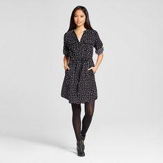 Women's Shirt Dress Black Polka Dot - Mossimo
