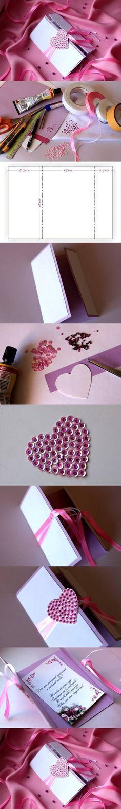 DIY Heart Valentine's Day Card   iCreativeIdeas.com Like Us on Facebook ==> https://www.facebook.com/icreativeideas
