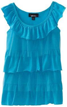 Amy Byer Girls 7-16 Knit/Mesh 4 Tier Babydoll Top, Blue, Medium. From #Amy Byer. List Price: $36.00. Price: $25.20