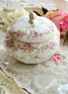 Limoges Dresser Pot ~ in days gone by, dresser pots held locks of hair, homemade face creams, or just bits and bobs of jewelry.  This pin is placed here as part of the beauty of one's toilette.  One's dresser or vanity should always be beautiful!