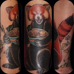 "Red Panda tattoo >> ""Red pandas love ramen"""