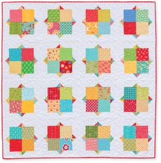this quilt has many names & renditions: Smitten by rachelgriffith (buy @ connecting threads uses charms;  Red Velvet by Thimble Blossoms uses cakes.