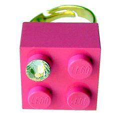 Dark Pink LEGO R brick 2x2 with a Diamond by MademoiselleAlma #MademoiselleAlma #LEGO #ETSY