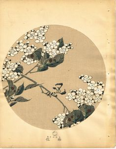 "Japanese antique woodblock print Ito Jakuchu ""Pear blossoms from Jakuchu gafu"""