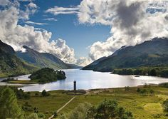 Loch Shiel with the Glenfinnan monument to Bonnie Prince Charlie at its head in the Scottish Highlands.