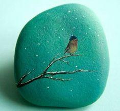 Stein Zeichnung - kleiner Vogel auf dem Ast