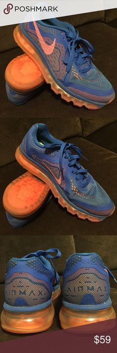 Nike air max 2014 navy blue pink sz 9.5 41.5 EUR Very good Nike air max 2014 full air bladders some moderate wear on the treads. Original clean insoles and laces. Nike Shoes Athletic Shoes