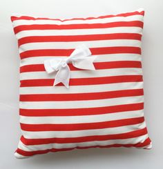 Nautical Red and White Striped Cushion
