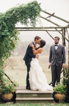 Vines and Branches Ceremony Arbor | Justin and Mary Photography | Made from Scratch - Planning a Fabulous Backyard Wedding