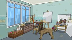 A Big Shar Pei Dog With An Art Studio Background :  A brown dog with excess skin brown muzzle head turning back as it lifts its tail and A room with light blue green walls glass window with white frame gray roller blinds set up as an art studio full of materials like blank canvases cans of paint shelves thinner paintbrushes in cans a stool easel and desk