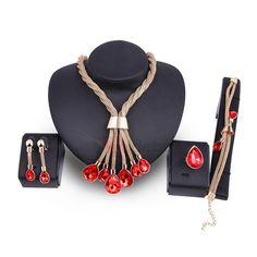 #TideBuy - #TideBuy Purple Stone Tassel Snake Chain Water Drop Pendant Jewelry Sets - AdoreWe.com