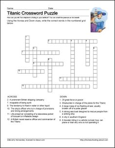 Titanic Worksheets and Coloring Pages: Printable Titanic Crossword Puzzle